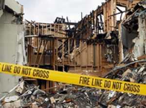 Severe fire damage in a house