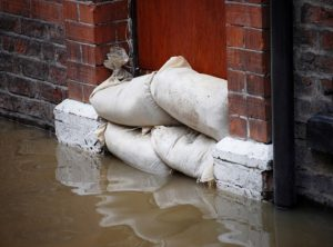 Sand bags blocking flood water