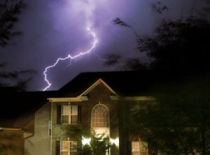 House being struck by lightning