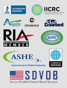 logos of EHS Restoration's certifications
