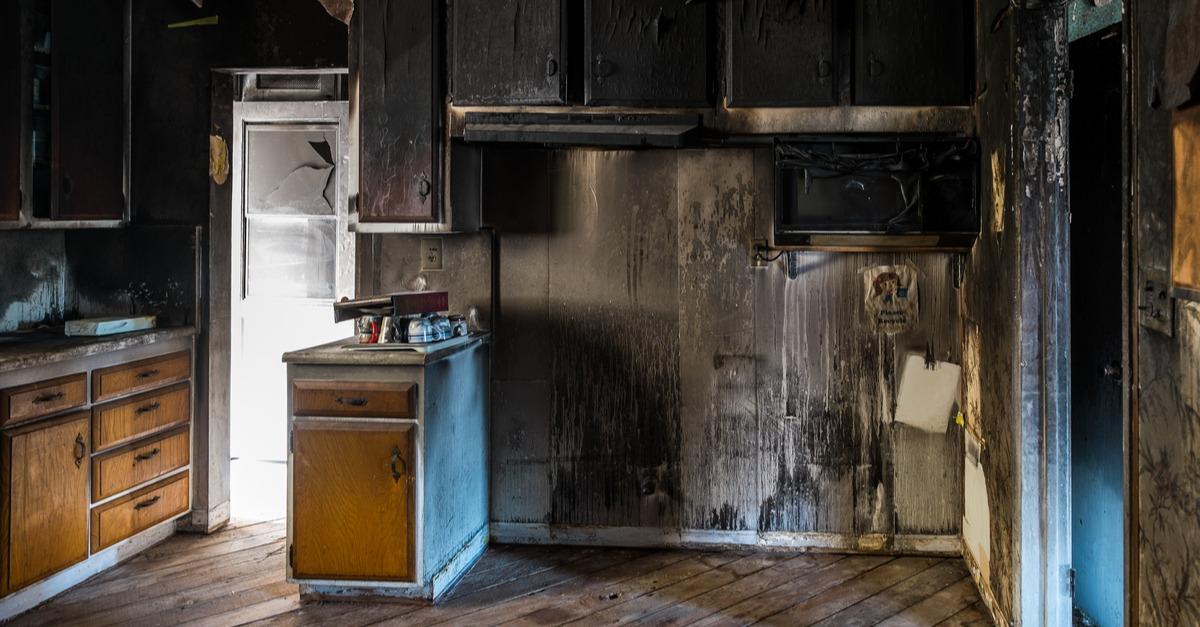 fire damage to kitchen